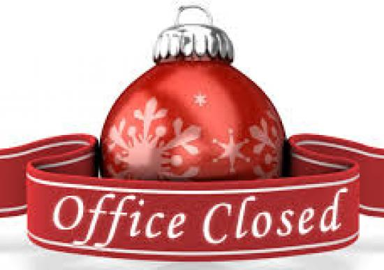Office will be Closed Dec 25th and January 1st and on Dec 21st hours are 8:00 til 12:00 only
